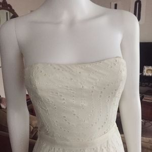NWT BCBG White Strapless Eyelet Dress